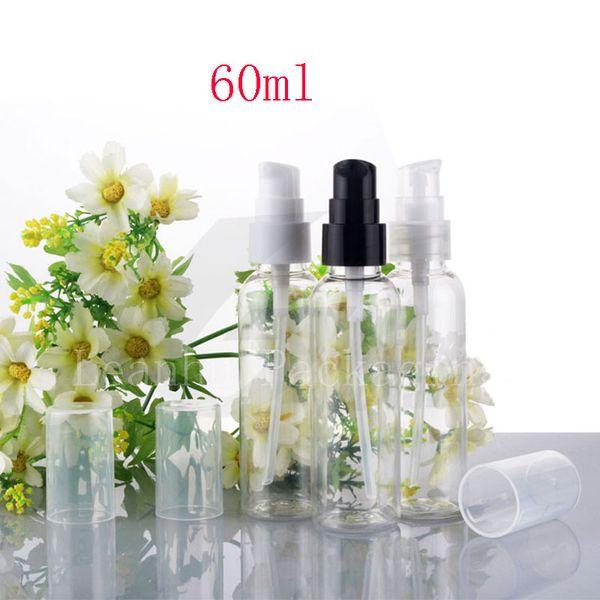 60ml transparente Sahnepumpen-Reiseflasche, 60g Lotions-wesentlicher HAUSTIER Plastik füllt Behälter, 2oz Behandlungs-Pumpe 50pc / lot ab