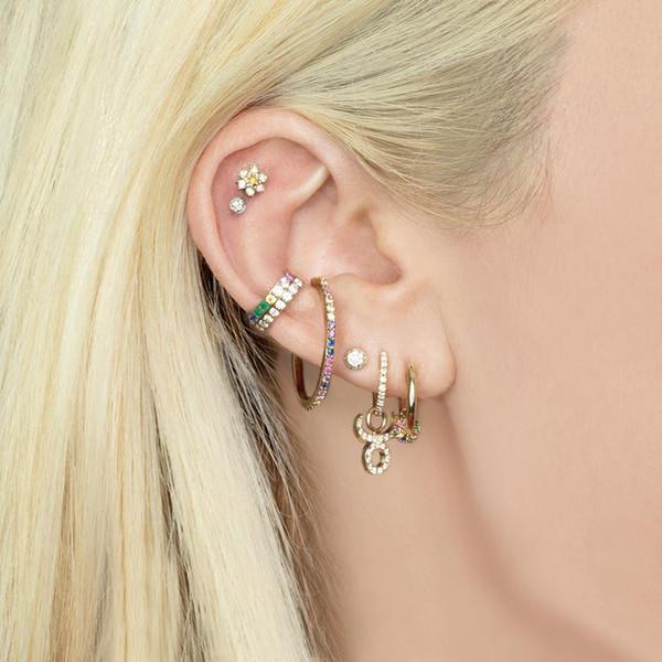 Nuevo diseño Grande no piercing ear cuff Diseño del anillo del círculo de dos vías utilizado simple encantador del arco iris blanco cz mujer niña joyería