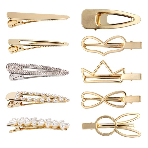 Gold Color Metal Fashion Hairpin for Women Heart Bowknot Crown Hair Clips For Girls and Ladies Hair Jewelry Hot F0135