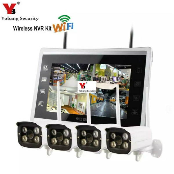 "Yobang Security 4CH Wireless CCTV Camera Security System Kit 12"" Monitor HD outdoor 960P WIFI Video Surveillance Camera System"