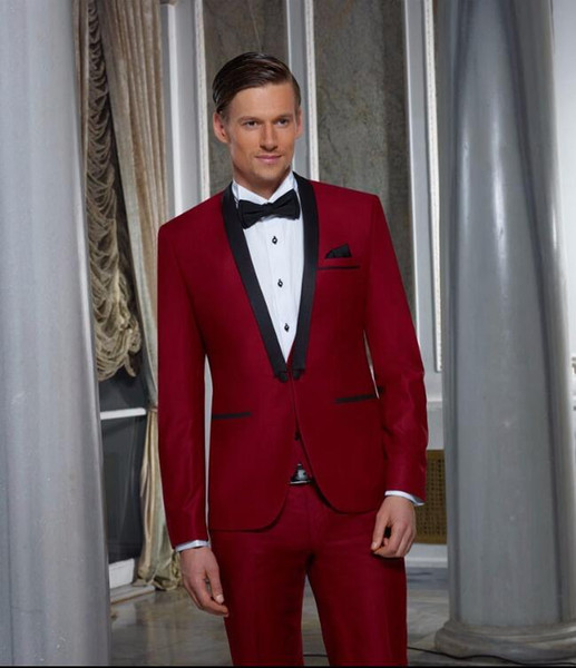 Latest Coat Pant Designs Burgundy Shawl Lapel Formal Custom Groom Fashion Wedding Suits For Men 2 Pieces Perfume Masculino