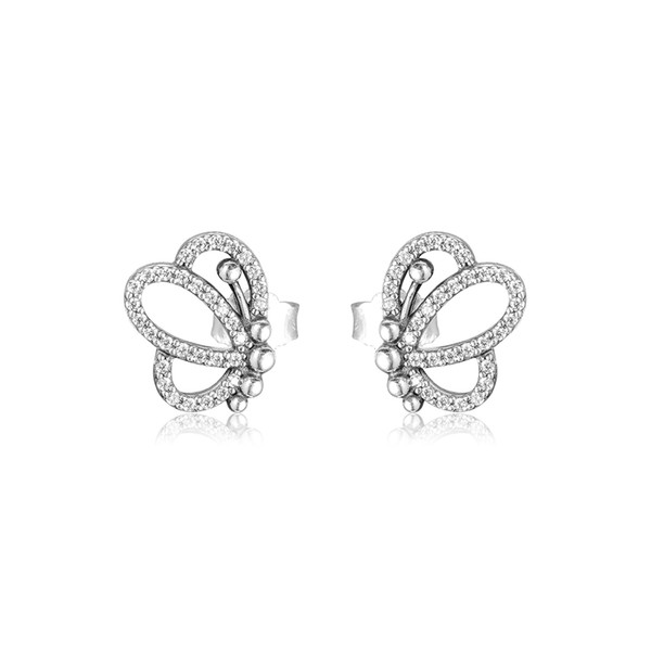 2019 Spring earrings 925 Sterling Silver Butterfly Described Stud Earrings For Women European Style Jewelry Original Fashion