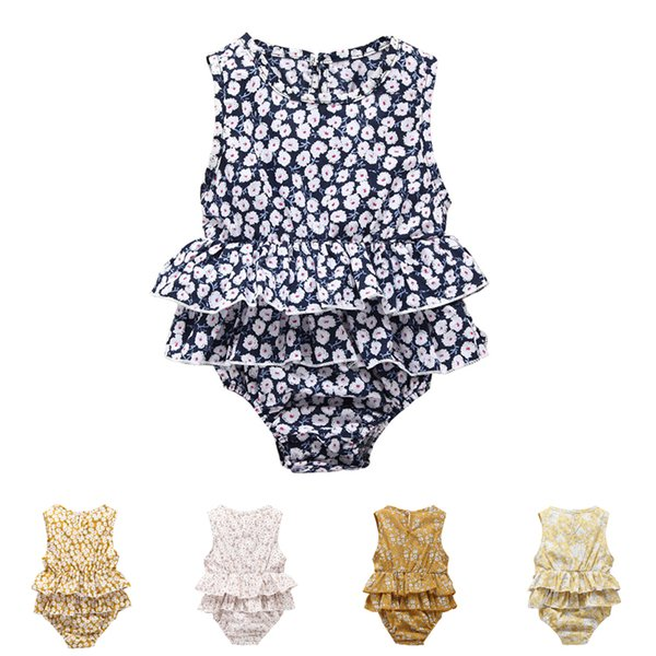 Baby romper summer floral print baby girls romper suits kids ins flower sleeveless triangle rompers newborn baby girl clothes DHL EFJ102