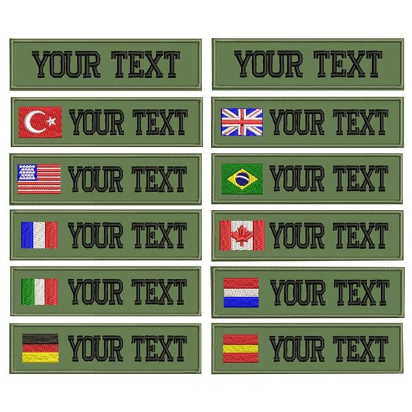 CustomMilitary Name embroidery Patch Army Green patches US Brazil France UK country flag personalized for jacket,bag,coat
