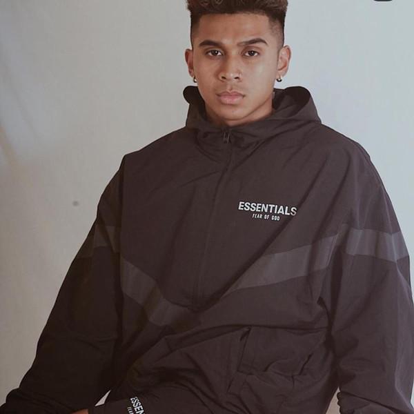 19SS Fear Of God FOG ESSENTIALS 3M Reflective Windbreaker Hooded Jackets Men Women Casual Street Hip Hop Coat Fashion Outwear HFLSJK325