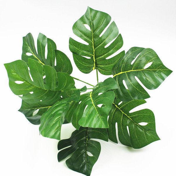 Spring Taro Leaf Tropical Palm Tree Branch Small Artificial Monstera Leaves Wedding Decoration Fake Flower Plastic Plants Flores