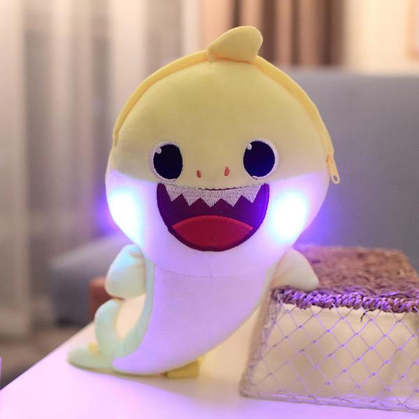 LED Işık ile bebek Köpekbalığı Sırt Çantaları Ses Çocuklar Peluş Omuz Çantaları Karikatür Okul Geri Paketi Erkek Kız Parti Tatil Doğum Günü Hediyeleri C71002