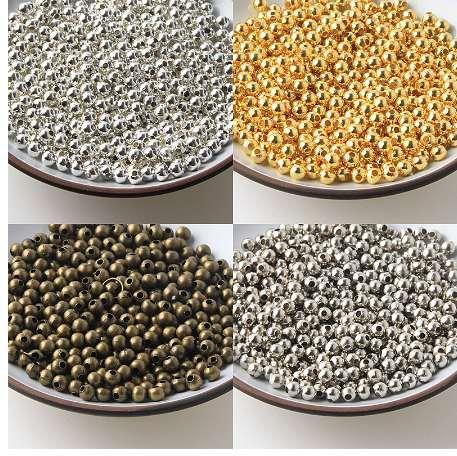 Descobertas Jóias Diy Grânulos de Metal Ouro / Prata / Bronze / Tom de Prata Suave Bola Spacer Beads Para Fazer Jóias 2 / 2.5 / 3/4/5/6/8 / 10mm