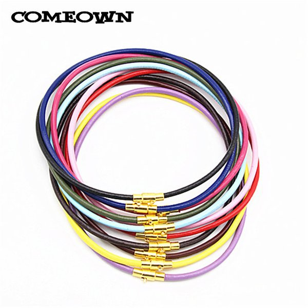 COMEOWN 10pcs Mixed Colors Real Leather Necklace Cord 3mm 12-30 inch Gold Tone Magnetic Clasp Leather Necklaces Choker for Women