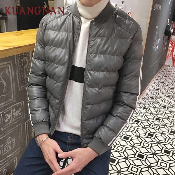 KUANGNAN Thick Warm Leather Jacket Men Winter Coat 4XL Winter Jackets Mens Clothes 2018 New Arrivals Coat Men Parka Stand Collar