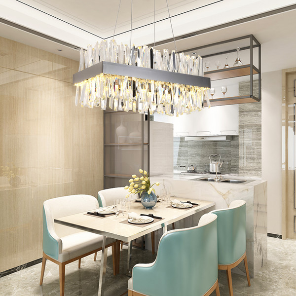 Luxury Rectangle Crystal Chandelier For Dining Room Kitchen Island Lamps  Hanging Modern Led Chandeliers Indoor Lighting Fixtures Spiral Chandelier  ...