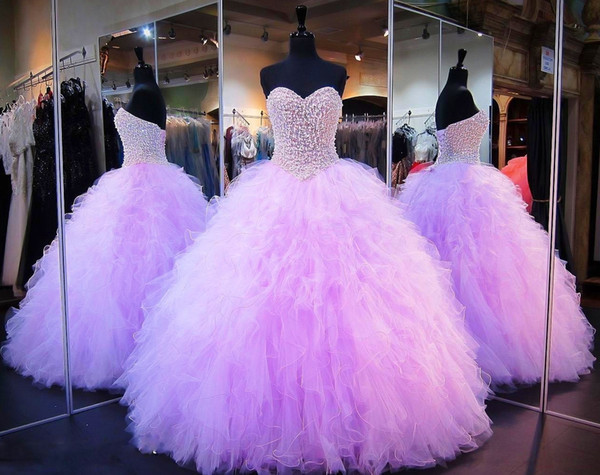 Lavender Quinceanera Dresses Ball Gown Corset Crystals Pearls Ruffles Tulle 2019 Up Back Pageant Gowns For Girls Sweetheart Prom Dress
