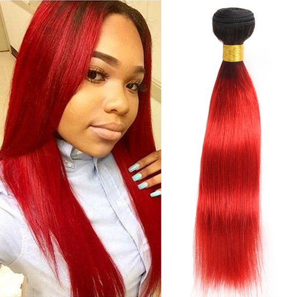 Dressmaker Ombre Hot Red Human Hair Weave 1 Bundle Pre-Colored 2 Tone T1B/Hot Red Ombre Malaysian Straight Hair Bundles