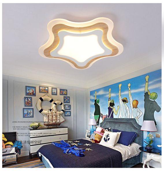 Compre Paquete De Correo Lámpara De Techo Led Lámpara De Dormitorio Moderna Y Moderna Lámparas Para Habitación De Niños Lámpara Nórdica De Madera