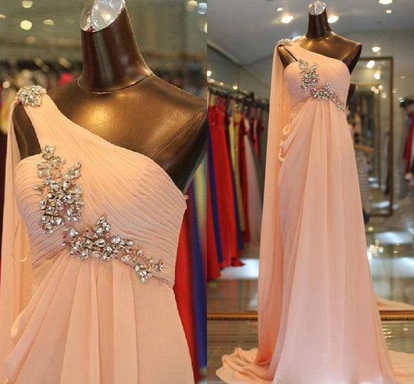 Fairy Peach One Shoulder Prom Dresses With Crystal Elegant Floor Length Flowy Chiffon Arabic Evening Gowns Fitted Boho Senior Prom Dress