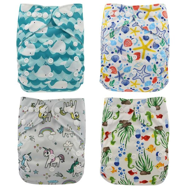 best selling Ohbabyka Cloth Diapers Unicorn Flamingo Animals Print Baby Nappies Washable Reusable Pocket Diapers One Size Fits All FREE SHIPPING