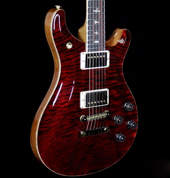 best selling Wood Library 10 Top Quilt Top McCarty 594 Guitar Wine Burst Custom 22 Flame Maple Neck Reed Smith 24 frets Electric Guitar
