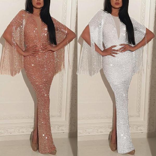 Femmes Automne Elegant BlingBling Tassel Dresess O-Cou Ouvert Maille Longue Maxi Sirène Robe de soirée robe Robes De Soirée