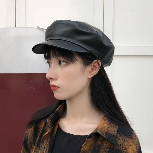 Béret noir femelle automne et hiver sauvage chapeau casquette octogonale chapeau britannique marine en cuir PU chapeau de canard marée masculine
