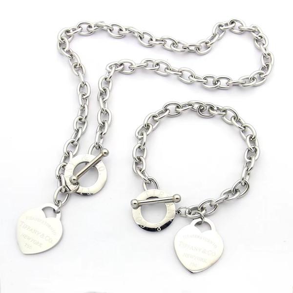 Haute qualité marque grand coeur ensemble de bijoux en acier inoxydable or argent plaqué or femmes coeur pendentif collier boucles d'oreilles ensemble chaîne épaisse