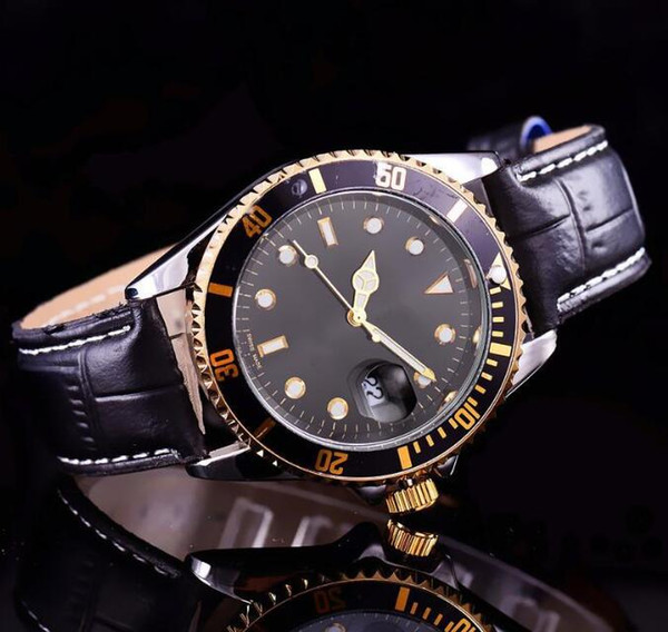 Top sale Men watches Luxury Designer Fashion Gold Black Dial Calendar Black Bracelet Leather Wristwatch Male Quartz Watch clock 2019 gifts