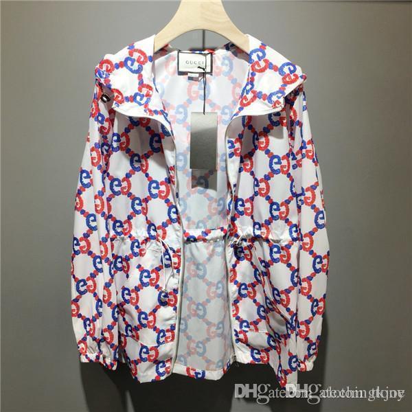 Impresión 19SS Paris completa la letra de G Recoge la cintura de la chaqueta para protegerse del sol señora ocasional puente sudaderas con capucha urbana al aire libre sudaderas