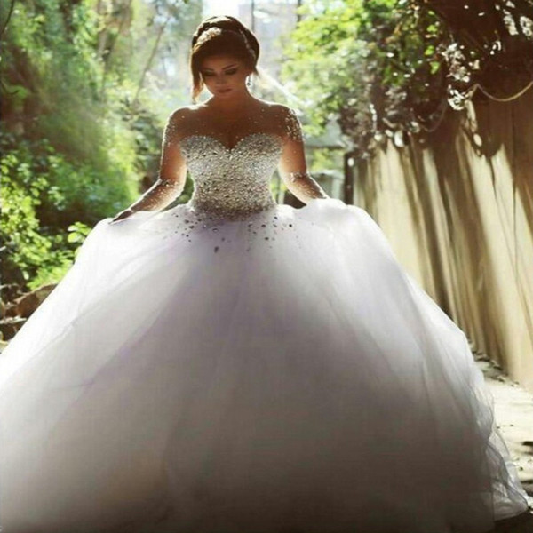 Beaded Long Sleeves Ball Gown Wedding Dresses Trouwjurk Sheer Neck Wedding Gowns Backless Bride Dress Sweep Train