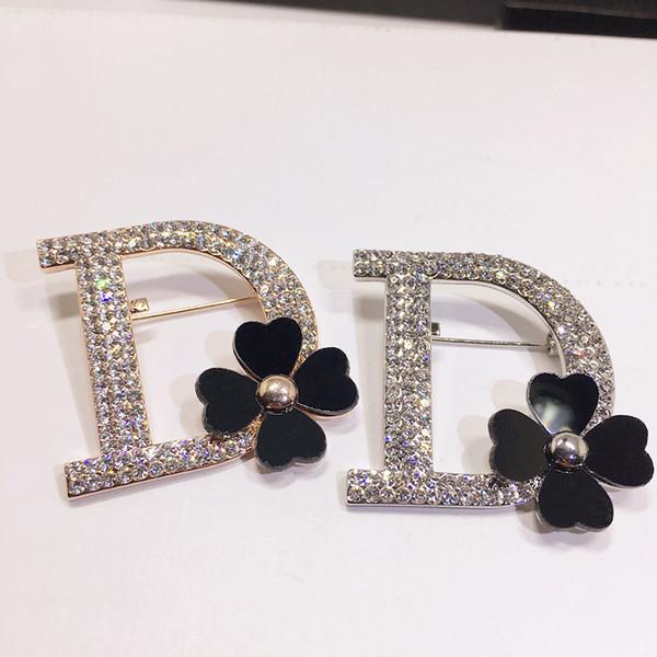 B108 Letter D Black Flowers Lapel Pins Jewlery Broche Strass Brooches Bijouterias Broach Jewelry For Women Jewlery 2018 New SH190721