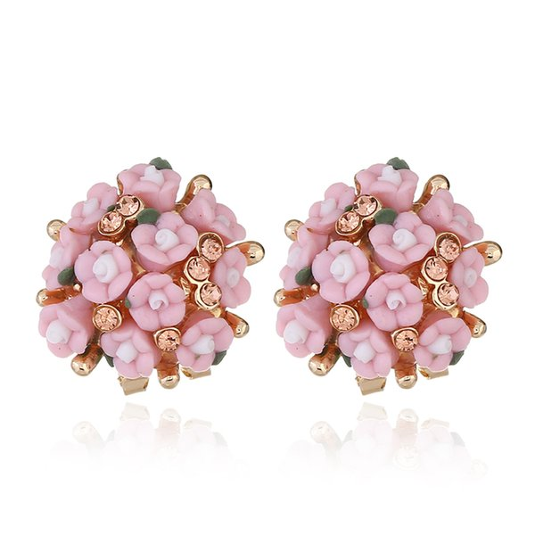 Ceramic flowers diamonds charm earrings women china Porcelain flower ear studs china miao jewelry 8 colors green yellow blue purple pink