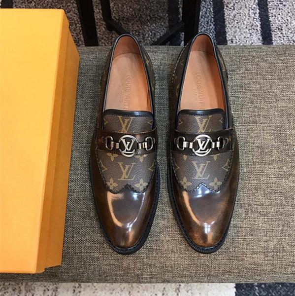 19ss Top Brand Mocassini Bottom Rosso Luxury Party Wedding Shoe Designer NERO VERNICE VESTITO IN PELLE SCAMOSCIATA Scarpe da Uomo Per Uomo Slip On Flats