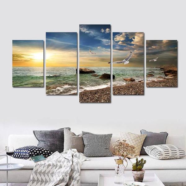 5 Pièce Mur Art Toile Coucher Du Soleil Mer Mur Art Photo Toile Peinture À L'huile Home Decor Mur Photos pour Salon Pas Encadré