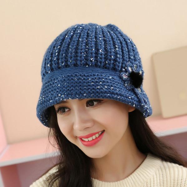Yeni Moda Bayan Çiçek Örgü Tığ Yüksek kalite Kış Sıcak Kap Bere İngiliz tarzı bere güneş şapka Düz şapka