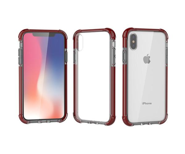 Acrylique Téléphone Cas pour iphone 8 Plus iPhone X TPU Effacer Housse Antichoc Double Couleurs Meilleurs cadeaux
