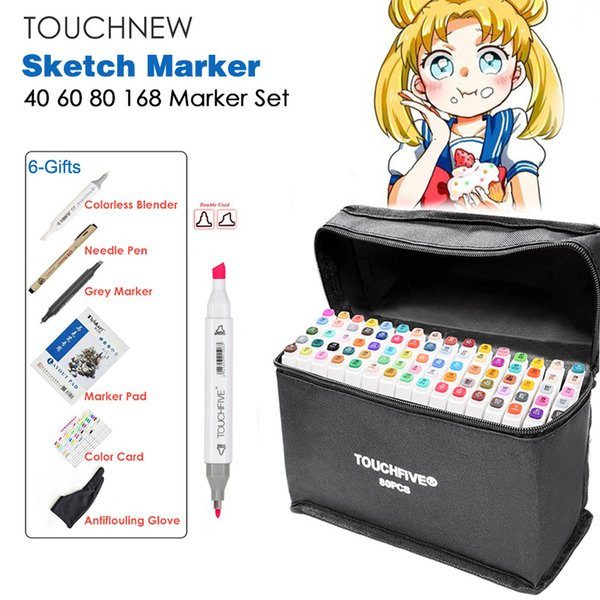 top popular TOUCHNEW 40 60 80 168 Color Graphic Marker Pen Set Sketch Drawing Art Markers Alcohol Based Art Supplies Manga With 6 Gifts C18112001 2021