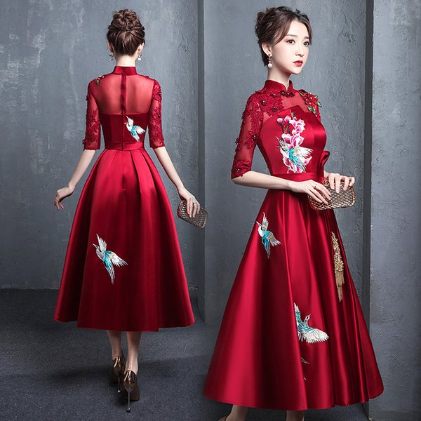 buegundy embroidery oriental style banquet dresses chinese vintage traditional wedding cheongsam elegant evening party gowns