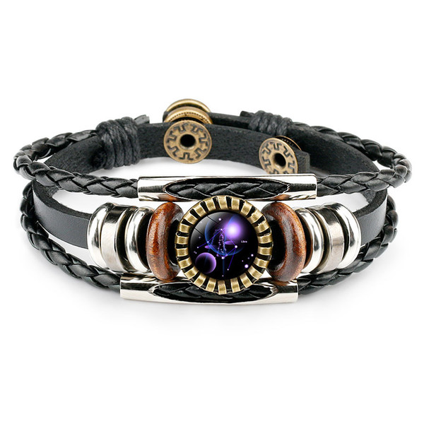 Fashion Zodiac Sign Leather Wrap Bracelets 12 horoscope cabochons Glass charm Adjustable Bangle For Women Men Fashion Jewelry in Bulk