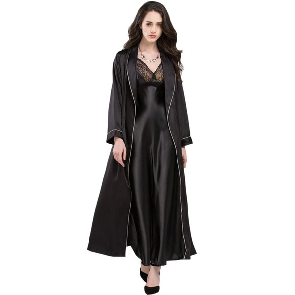 Sexy Elegant Sleepwear Female Summer Satin Silk Sling Nightdress Long-Sleeve Sleeping Robes + Nightgowns Two-Piece Sets T0009
