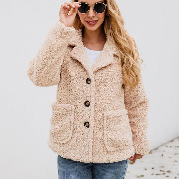 jaycosin casual zipper solid color lapel woolen coat women's pockets button flannel long sleeve sweatshirt pullover coat outwear