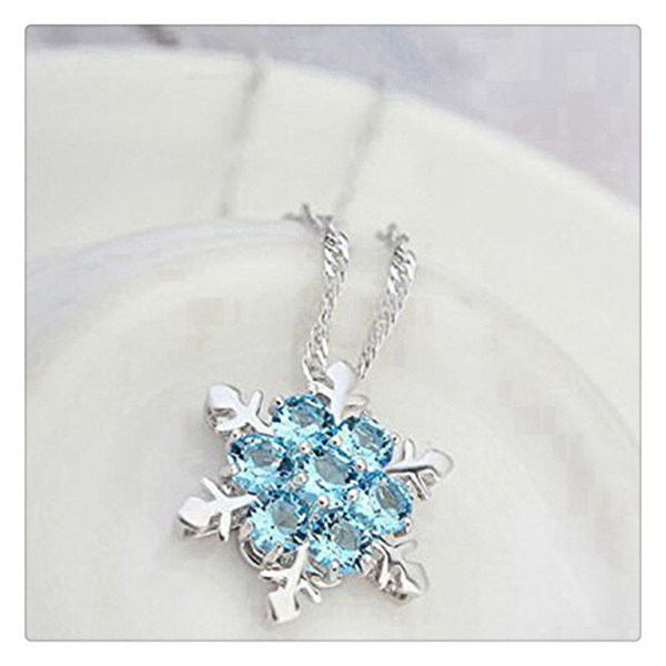 Pendant Necklace Women Fashion Jewelry Necklace Sterling Silver Necklace Blue Rhinestone Snowflake Pendant Make You Charmer Copper Plated