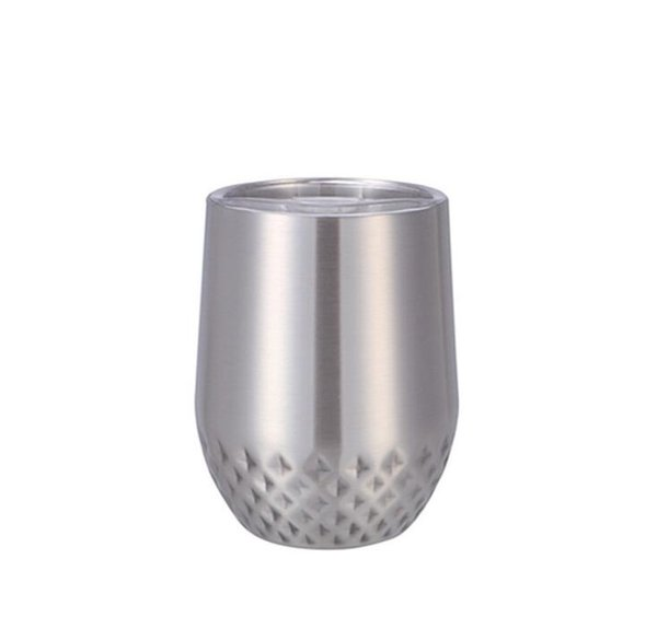 12OZ eggshell cup New 304 stainless steel vacuum flask with lid Coffee milk tea water cup U-shaped red wine glass
