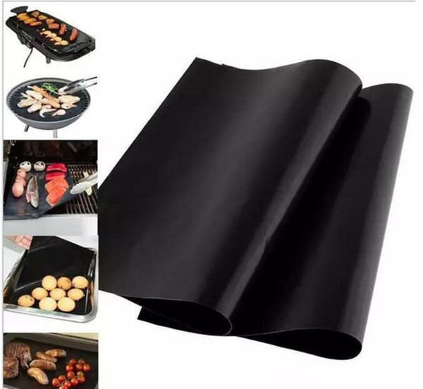 top popular 2000pcs Barbecue Grilling Liner BBQ Grill Mat Portable Non-stick and Reusable Make Grilling Easy 33*40CM 0.2MM Black Oven Hotplate Mats 2021