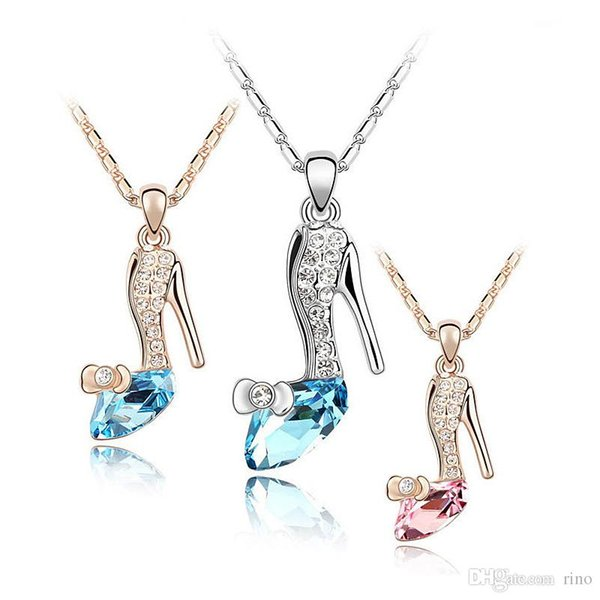 Kids Girls Noble Gold Sillver Plated Jewelry Cinderella Crystal shoes Pendant Austria Crystal Necklace for Valentine's Gifts