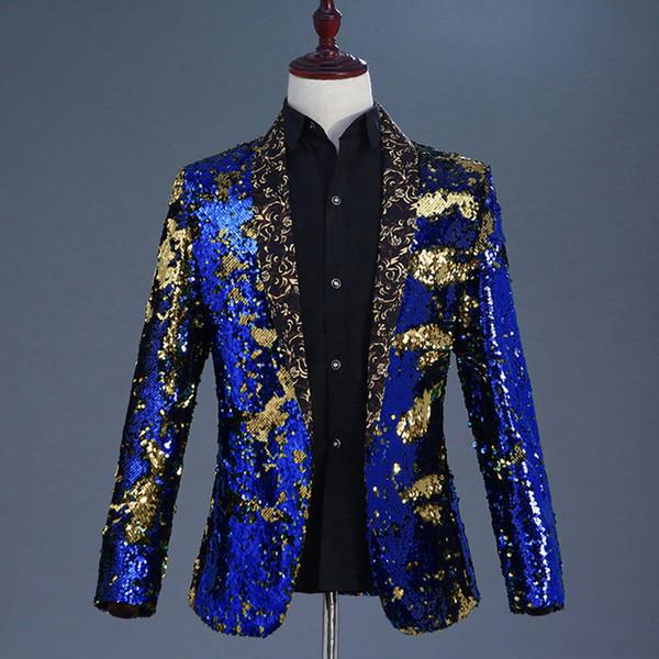 Luxury Royal Blue Sequin Dress Blazer Men Nightclub Stage Shawl Collar Mens Suit Jacket Wedding Party Stage Blazer Masculino