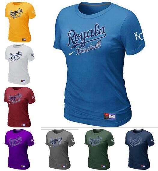Yeni Stil Kansas City Royals Kadınlar Fanatics Retro Kısa Kollu Pratik Logo ile Pro Line Siyah ve beyaz Kırmızı Tişört