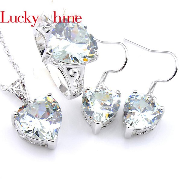 Luckyshine 3 Pcs Holiday gift Set 7 Color Love Heart Cubic Zirconia Crystal Gems Silver Ring Earrings Pendants Wedding Jewelry