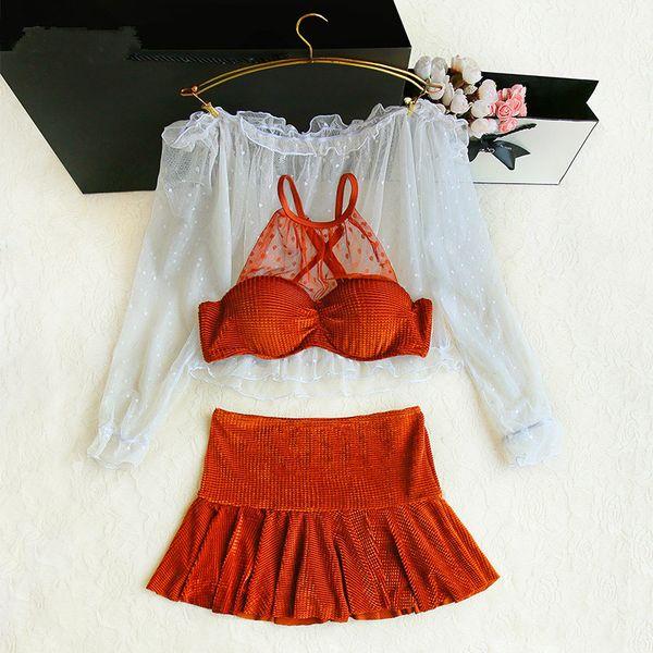2019 Novos Biquinis Mulheres Swimsuit De Cintura Alta Maiô com rendas blusa Swimwear Push Up Bikini Set Vintage Beach Wear Biquini
