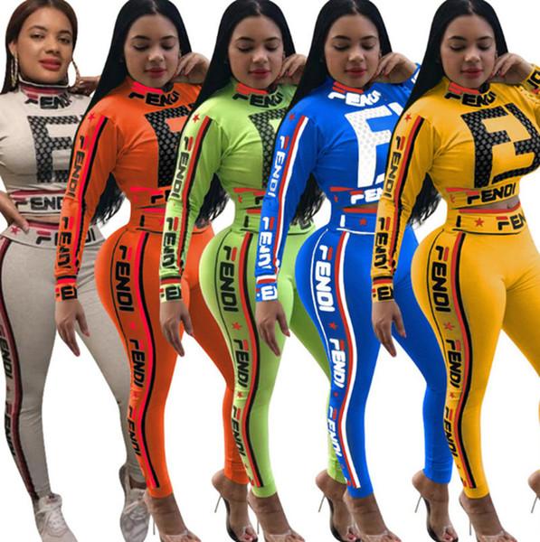 Diseñador de la marca mujeres jogging traje manga larga conjunto de dos piezas de chándal crop top leggings trajes ropa deportiva camisa suéter sexy 34