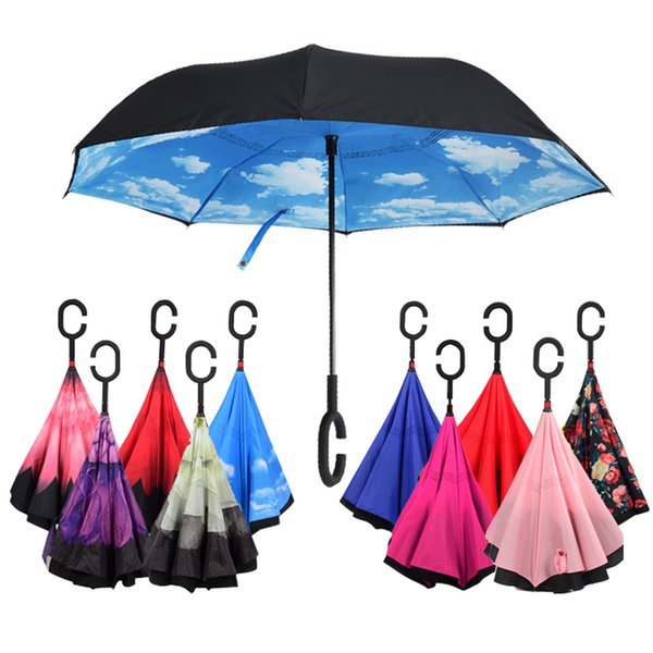 105cm non-automatic double reverse sunny and rainy long-handle umbrella pongee for outdoor rainy day portable humanize