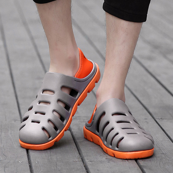 MUQGEW novelty Fashion Flat for man patchwork Breathable Antiskid Light Slippers Beach Hole Shoes Sandals 2019 sepatu wanita