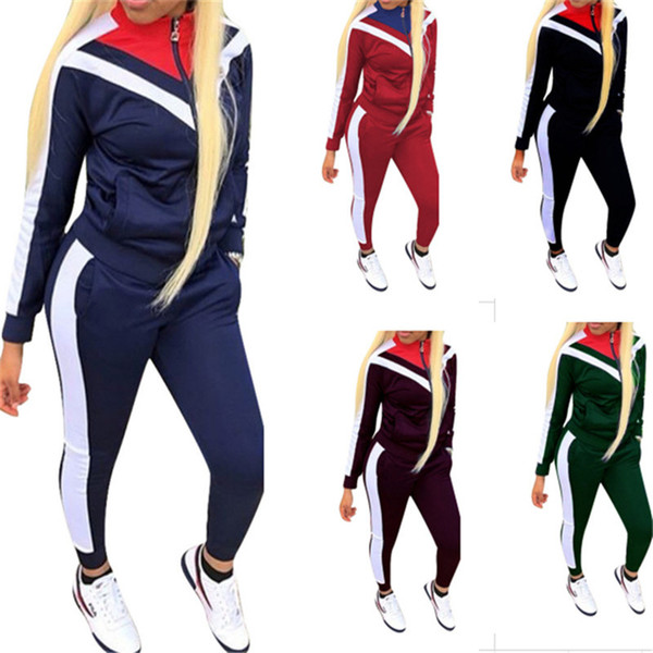 Women Patchwork Tracksuit Zipper Jacket + Pants 2 Piece Joggers Set Autumn Spring Outfits Long Sleeve Stand Collar Sportswear Sports Suits